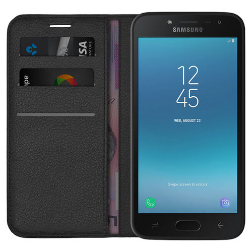 Leather Wallet Case Card Holder Pouch - Samsung Galaxy J2 Pro - Black